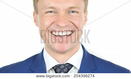 Portrait of laughing Businessman Excited and overwhelmed