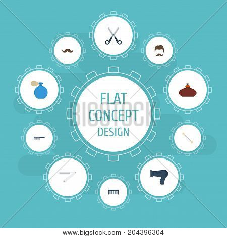 Flat Icons Blow-Dryer, Deodorant, Hairbrush And Other Vector Elements