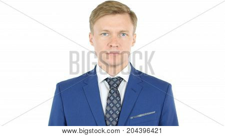 Businessman Looking At Camera With Reliability Isolated On White Background