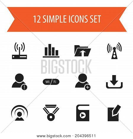Set Of 12 Editable Global Icons. Includes Symbols Such As Modem, Wireless Transmission, Error Account And More