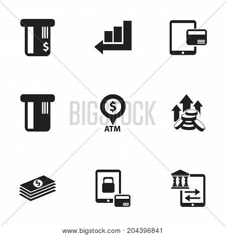 Set Of 9 Editable Banking Icons. Includes Symbols Such As Internet Sale, Salary, Increase And More
