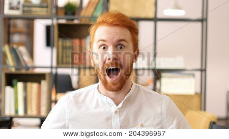 Portrait Of Excited Red Hair Beard Designer, Success And Achievement