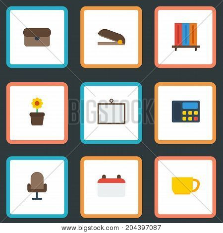 Flat Icons Phone, Armchair, Whiteboard And Other Vector Elements