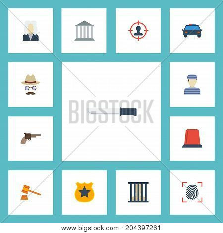 Flat Icons Lawyer, Suspicious, Prisoner And Other Vector Elements