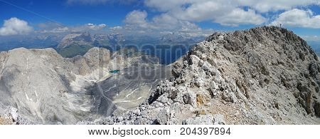 View of from Catinaccio d'Antermoia summit, the highest mountain of Catinaccio group, Dolomites, Trentino, South Tyrol, Italy