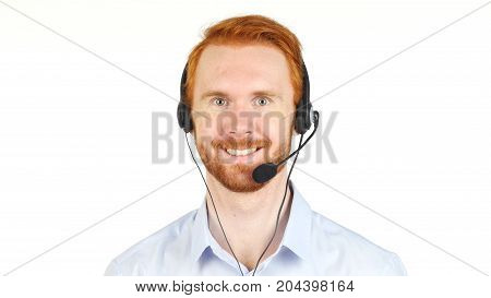 Portrait Of Smiling Man With Headphone, Call Center, Customer Servive