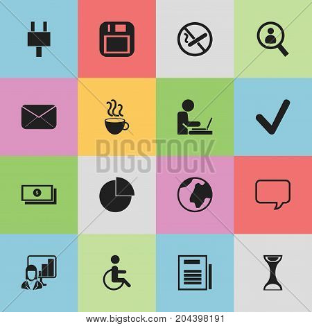 Set Of 16 Editable Office Icons. Includes Symbols Such As Floppy Disk, Presentation, Epistle And More