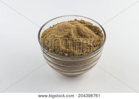 Brown Sugar. Mascavo In A Glass Bowl