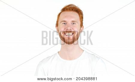Young Handsome Red Hair Man Laughing , Smiling  Isolated On White
