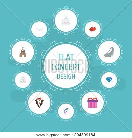 Flat Icons Wedding Gown, Brilliant, Present And Other Vector Elements