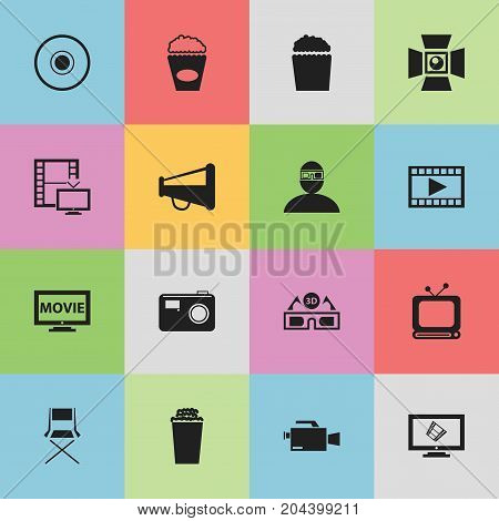 Set Of 16 Editable Filming Icons. Includes Symbols Such As Spectator, Video Camera, Loudspeaker And More