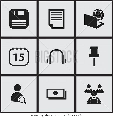 Set Of 9 Editable Bureau Icons. Includes Symbols Such As File, Earphone, Worker With Laptop And More
