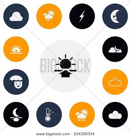 Set Of 13 Editable Weather Icons. Includes Symbols Such As Happy Man, Moon Up, Bolt And More