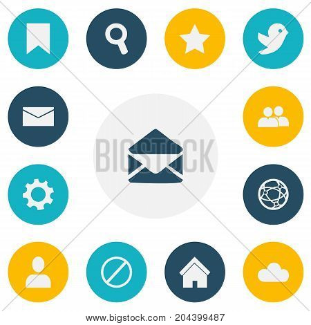 Set Of 13 Editable Web Icons. Includes Symbols Such As Magnifier, Bookmark, Home And More