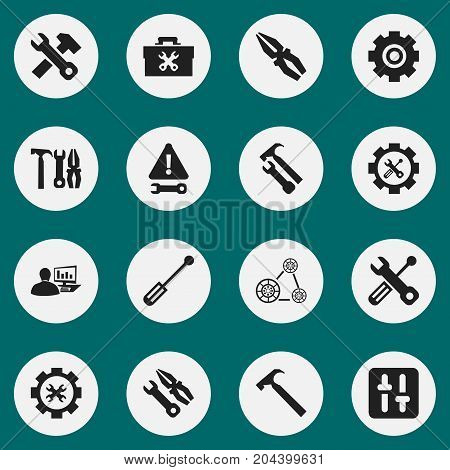 Set Of 16 Editable Repair Icons. Includes Symbols Such As Fixing Equipment, Screwdriver Wrench, Options And More