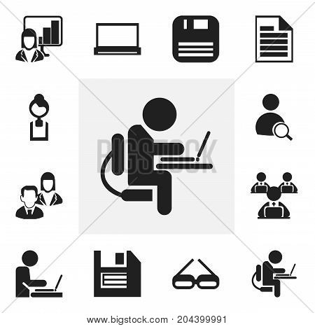 Set Of 12 Editable Office Icons. Includes Symbols Such As Person Working On Computer, Presentation, Floppy And More