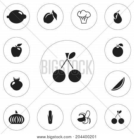 Set Of 12 Editable Fruits Icons. Includes Symbols Such As Allium, Gourd, Banana And More