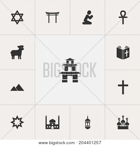 Set Of 13 Editable Faith Icons. Includes Symbols Such As Religious Sewn, Chapel, Shinto And More