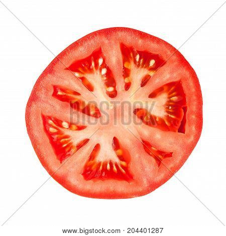 Detail of rounded cutted tomato slice isolated on white background.