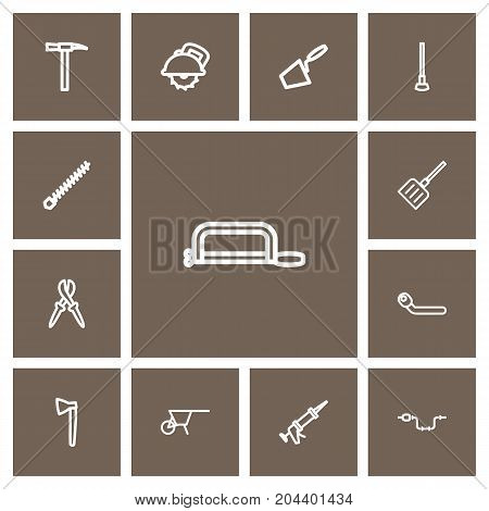 Set Of 13 Editable Apparatus Outline Icons. Includes Symbols Such As Pliers, Tool, Rotating Bit And More