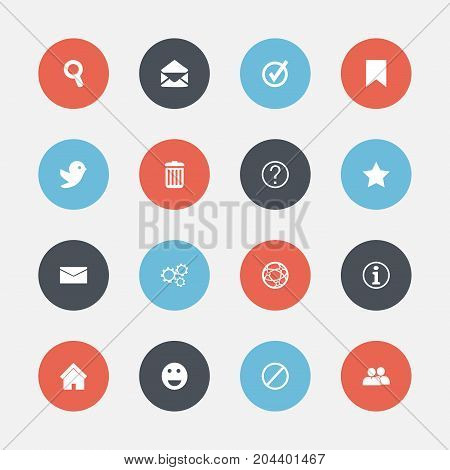 Set Of 16 Editable Web Icons. Includes Symbols Such As Bookmark, Gear, Faq And More