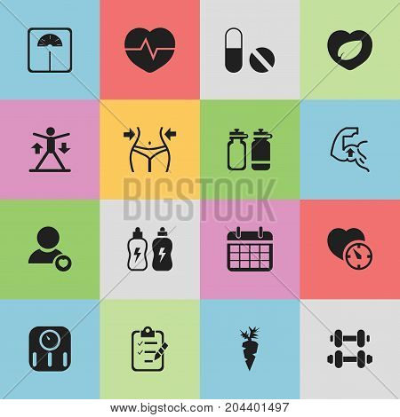 Set Of 16 Editable Training Icons. Includes Symbols Such As Heartbeat, Root Vegetable, Weight Measurement And More