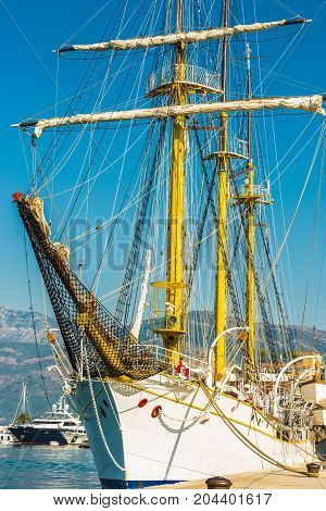 Sailing ship on the quay in Tivat, Montenegro.