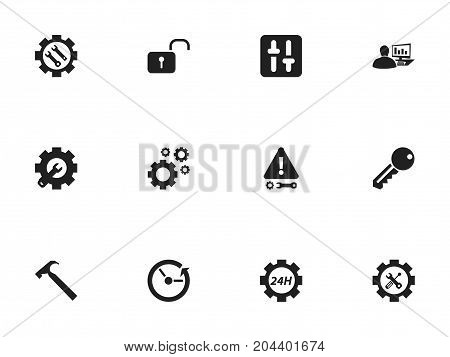 Set Of 12 Editable Service Icons. Includes Symbols Such As Access, Cogwheels, Wrench Repair And More