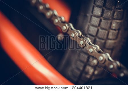 Close up shot of a bicycle chain.
