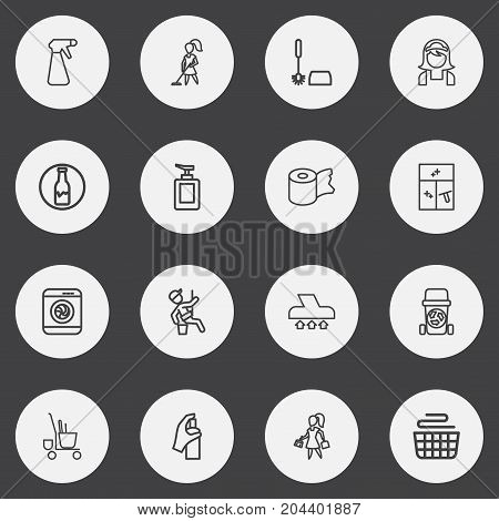 Set Of 16 Editable Hygiene Outline Icons. Includes Symbols Such As Badge, Trolley, Vacuum Cleaner And More
