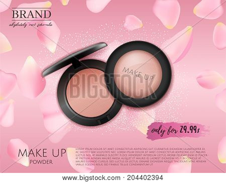 Modern  Premium VIP cosmetic ads, pink 3D cheek blush or make up promotion powder ads, cosmetics package  with rose petals background. Elegant face powder compact illustration vector design