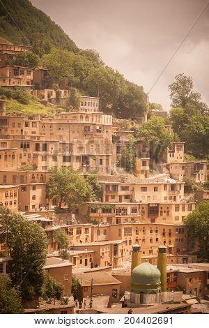 general view of the Masuleh village in Iran.