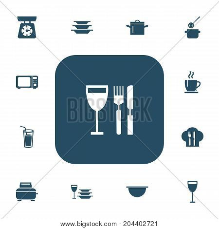 Set Of 13 Editable Kitchen Icons. Includes Symbols Such As Toaster, Pan, Drink And More