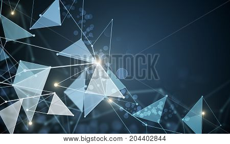 Abstract techno low poly polygonal background. Technology concept. 3D Rendering