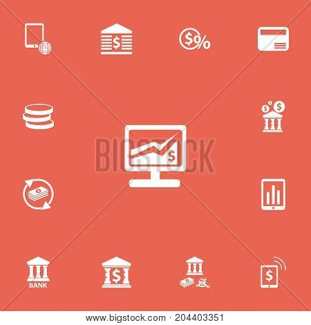 Set Of 13 Editable Investment Icons. Includes Symbols Such As Museum, Greenback, Freelance Income And More