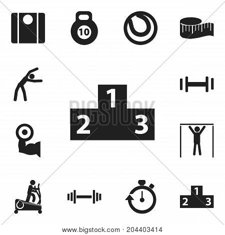 Set Of 12 Editable Lifestyle Icons. Includes Symbols Such As Instruction Male, Crossbar, Balance And More