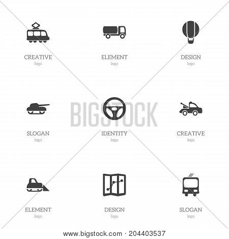 Set Of 9 Editable Transport Icons. Includes Symbols Such As Weapon, Transportation, Airship And More