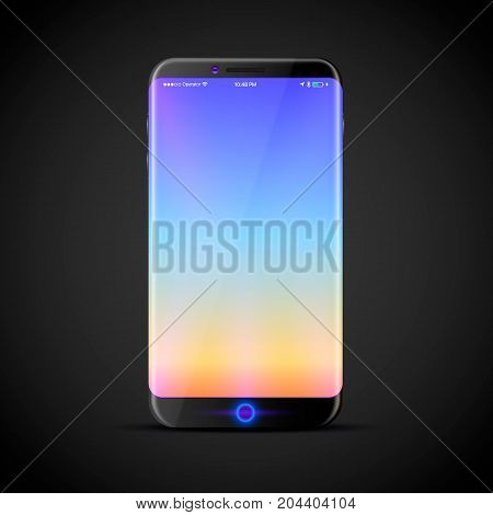 The design of a new touchscreen phone with a large screen. Vector illustration