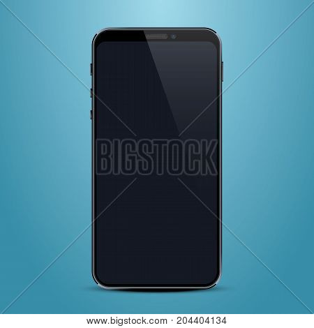 Phone with a black screen, object electronics. Vector illustration