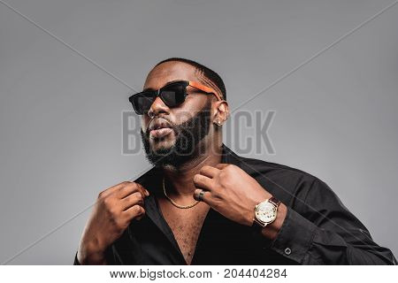 Brutal And Stylish African American Man On Sunglasses