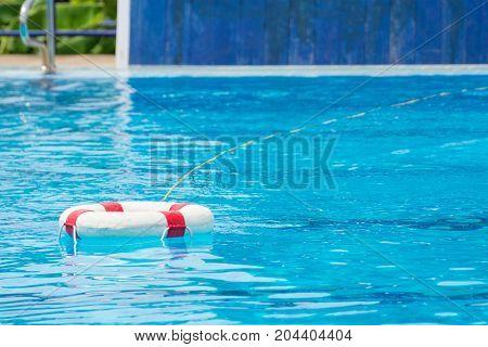 ring bouy in pool equipment for rescue victim drowning