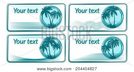 Business Card or Labels with Tropical Landscape, Palms Trees and Grass Blue Silhouettes on White Background with Rings, Waves and Lines. Vector