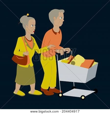 Pensioners with a trolley products pensioner, product,