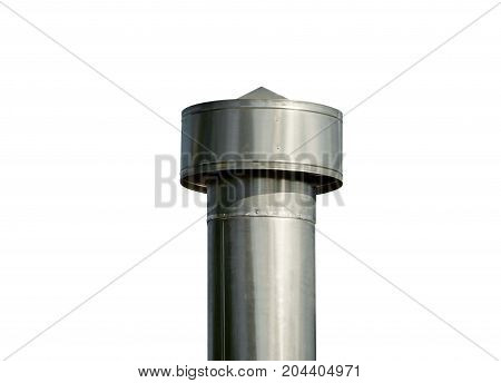 large industrial shiny metal pipes on white background