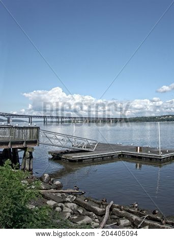 A scenic view of the Newburgh-Beacon Bridge over the Hudson River in Orange County New York.