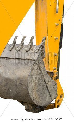 part of modern yellow excavator machines isolated on white