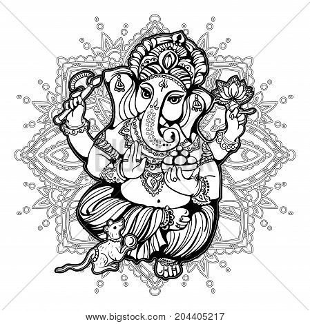 Ganesha on the ornate mandala pattern background. Indian Hindu Mythology. Fashion Tattoo motives of the spirituality of the East. Coloring for adults.