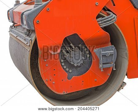 Heavy Vibration roller compactor for road repairing on white background