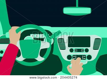 Human hands driving a car standing, wheel, transportation