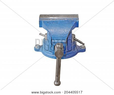 the Blue steel vise on white background